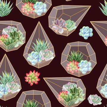 High detail succulent and cactus seamless pattern