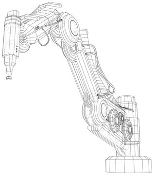 Industrial robot manipulator. EPS10 format. Wire-frame Vector created of 3d. EPS10 format.