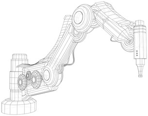 Robot hand wire-frame. Vector illustration. Tracing illustration of 3d.