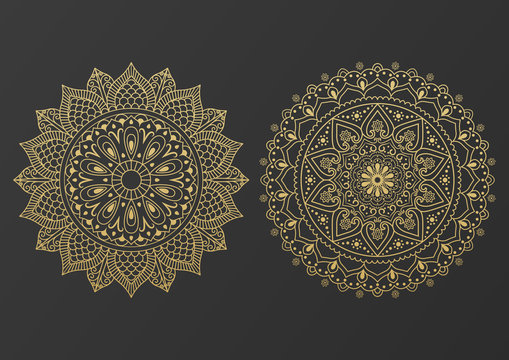 Logo icon ornamental mandala design in gold color. vector illustration