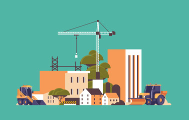 modern construction site with cranes tractor and bulldozer unfinished building exterior flat horizontal Wall mural