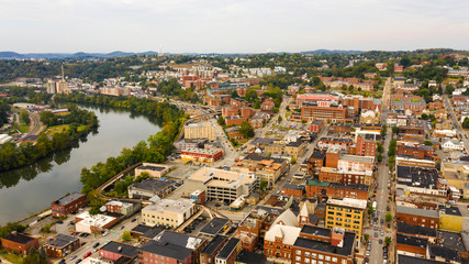 Aerial Perspective Over The Riverfront Downtown City Center Morgantown West Virginia