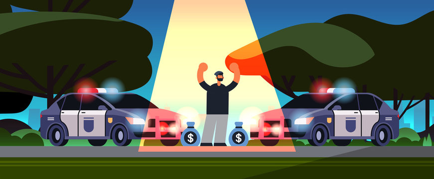 arrested criminal character with money bags robber caught by police theft security authority justice law service concept urban park landscape background full length horizontal
