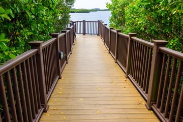 Wooden walkway to Tampa Bay Waters, Florida