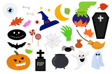 Halloween decoration bundle collection. Royalty-free stock vector ID: 1133066738  Vector set of Halloween party invitations or greeting cards , banner, flyer, sale and pattern background