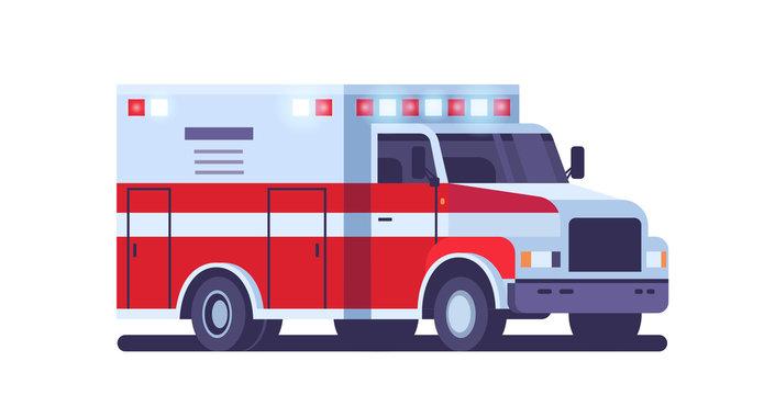 modern ambulance car with emergency sign medical transport healthcare medicine concept flat horizontal