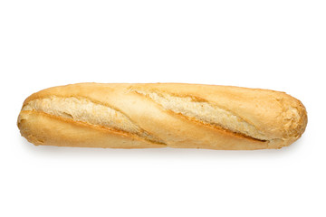 Tuinposter Brood Traditional plain white baguette isolated on white. Top view.