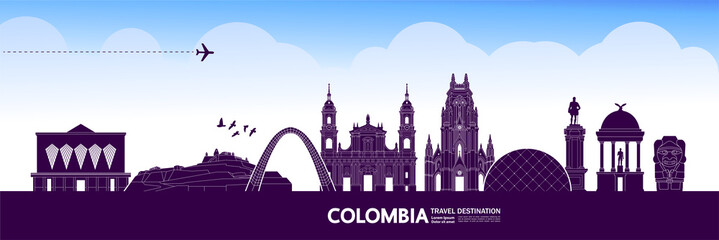 Fototapete - Colombia travel destination grand vector illustration.