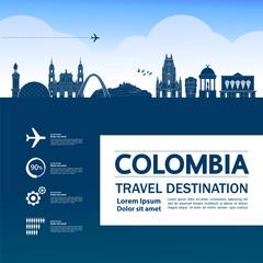 Wall Mural - Colombia travel destination grand vector illustration.