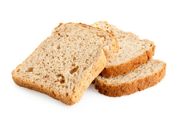 In de dag Brood Three slices of whole wheat toast bread isolated on white.