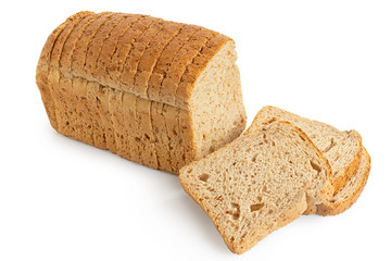 Sliced loaf of whole wheat toast bread isolated on white. Three slices lying.