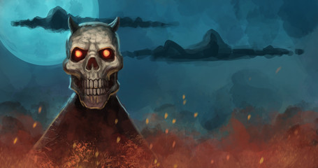 Evil demon skeleton rising from a fire against a large moon in the night sky - digital fantasy illustration