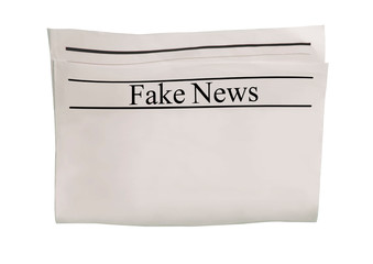Mockup of Fake News newspaper blank with textured space for text, headline and images.