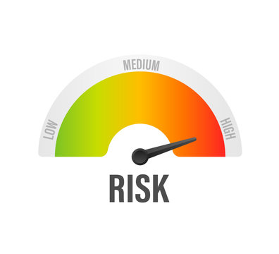 Risk icon on speedometer. High risk meter. Vector illustration.