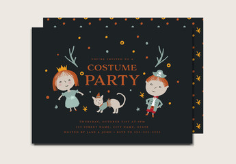 Illustrative Halloween Costume Party with Kids Card Layout