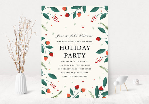 Graphic Floral Holiday Party Invitation Layout