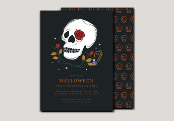 Illustrative Halloween Party Invitation with Skull Layout