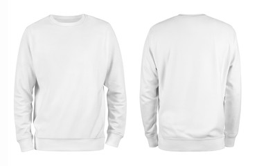 Men's white blank sweatshirt template,from two sides, natural shape on invisible mannequin, for your design mockup for print, isolated on white background. Wall mural