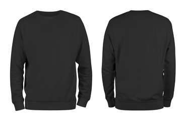 Men's black blank sweatshirt template,from two sides, natural shape on invisible mannequin, for your design mockup for print, isolated on white background.