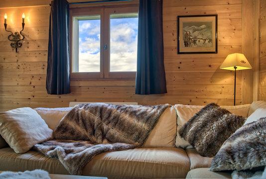 Salon d'un chalet de montagne, Haute-Savoie, France