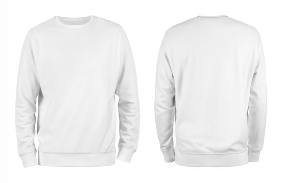 Men's white blank sweatshirt template,from two sides, natural shape on invisible mannequin, for your design mockup for print, isolated on white background.