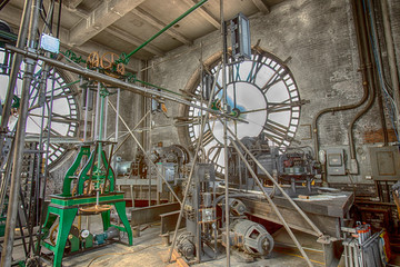 Clock tower works and dials
