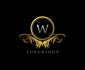 Gold W Letter Luxury Boutique , Heraldic, Royal, Decoration, Boutique Logo. Interior Icon. Fashion, Jewelry, Beauty Salon, Hotel Logo. Cosmetics, Spa Logo. Resort and Restaurant Logo.