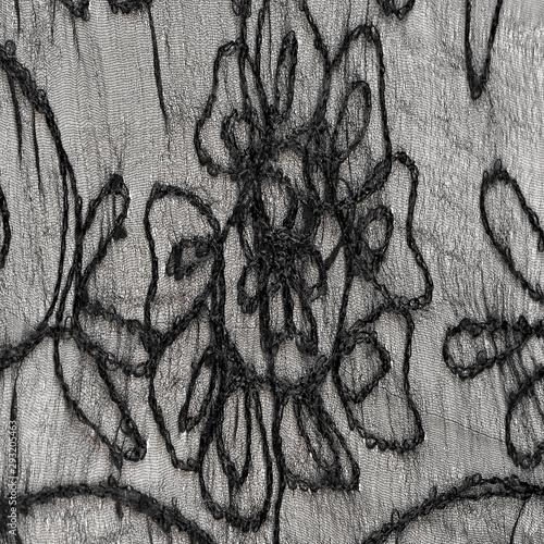 Texture Background Pattern Silk Fabric Black Lace Pattern