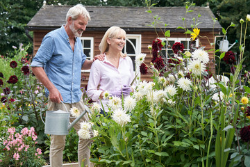 Mature Couple Working In Flower Beds In Garden At Home