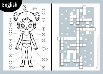 Vector crossword in English, education game for children about the human body. My body parts for a girl.
