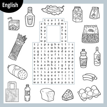 Word search puzzle. Cartoon set of food, groceries. Education game for children
