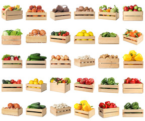 Set of wooden crates with different fruits, vegetables and eggs on white background