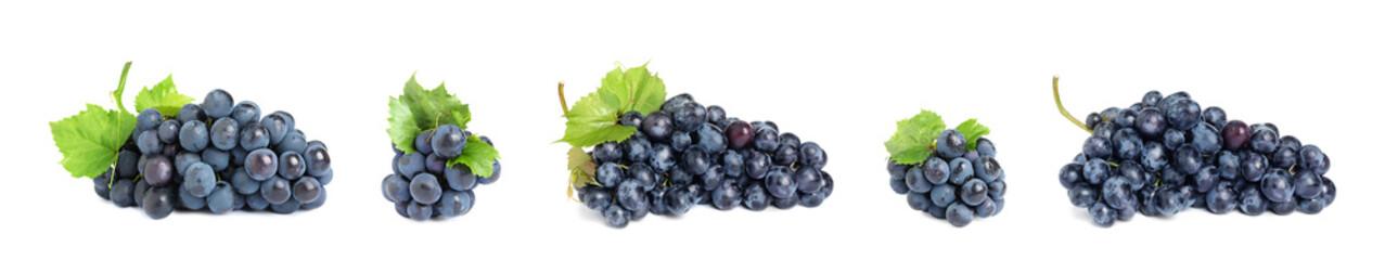 Set of fresh juicy grapes on white background