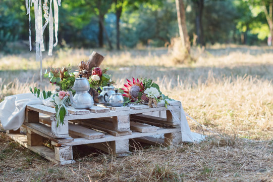 Wedding decor in the style of a boho. Wedding bouquet, visiting ceremony, concept