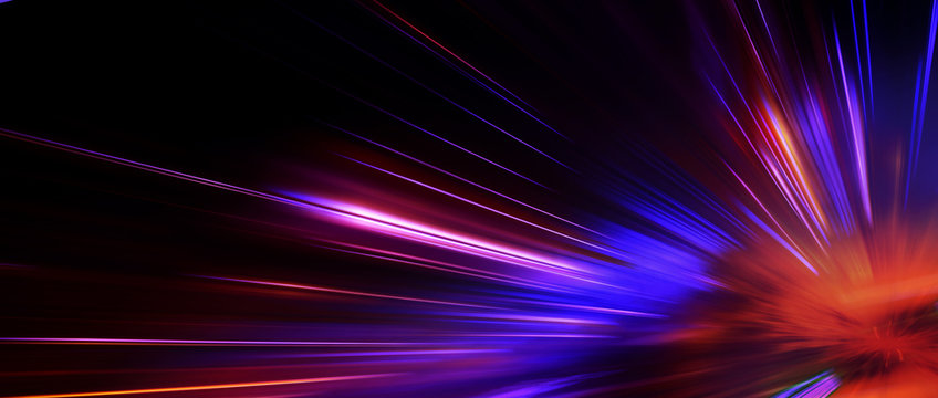 Panoramic high speed technology concept, light abstract background