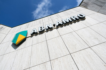 CAPELLE AAN DEN IJSSEL, NETHERLANDS - September 22, 2017: ABN AMRO sign at branch. ABN AMRO is the third-largest bank in the Netherlands.