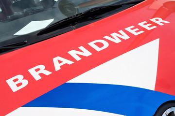 KATWIJK AAN ZEE, THE NETHERLANDS - June 28, 2016: Dutch fire engine on display at the tourist market