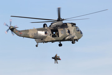 NORDHOLZ, GERMANY - November 4, 2015: German Navy Westland Sea King Mk.41 helicopter on a search and rescue training winching exercise