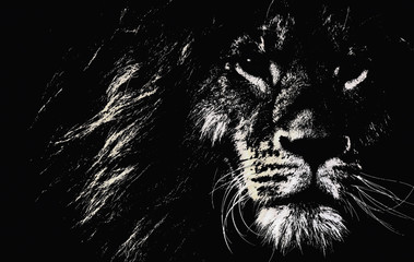 Abstract sketch image of a lion
