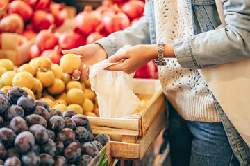 Female hands puts fruits and vegetables in cotton produce bag at food market. Reusable eco bag for shopping. Sustainable lifestyle. Eco friendly concept.