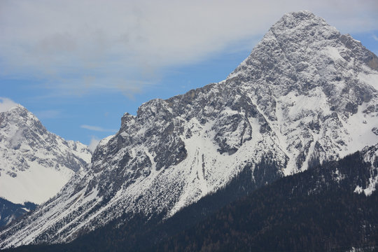 The highest mountain of Germany, Zugspitze, covered with snow