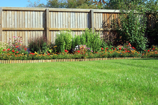 Shrubs And Flowers In A Border With A Grass lawn Surrounded By A Wooden Fence.