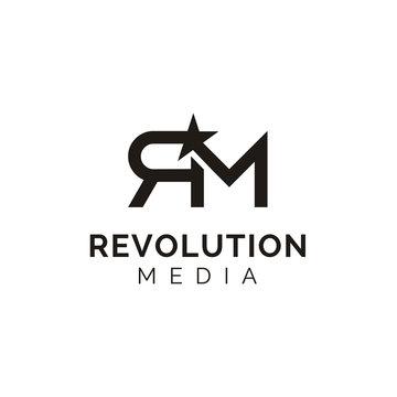 Initials Monogram Letter R & M RM star logo design