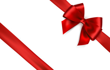 Shiny red satin ribbon on white background. Vector red bow and ribbon