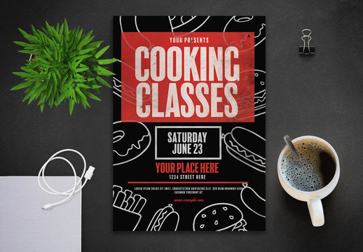 Cooking Class Flyer Layout with Line Art Food Illustrations
