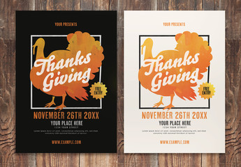 Thanksgiving Flyer Event Layout with Grunge Textured Turkey Illustration