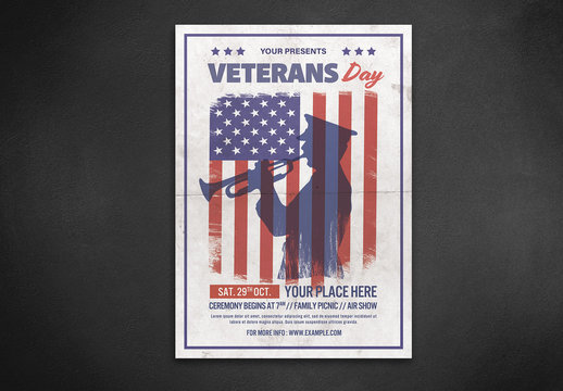 Veteran's Day Flyer Layout with Soldier and Flag Illustrations