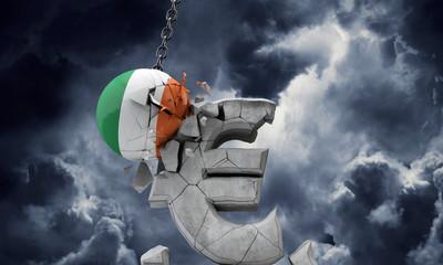 Ireland flag ball smashing a European Euro currency symbol. 3D Render