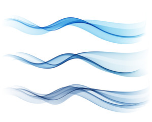 Set of blue abstract wave design element