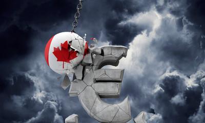 Canada flag ball smashing a European Euro currency symbol. 3D Render